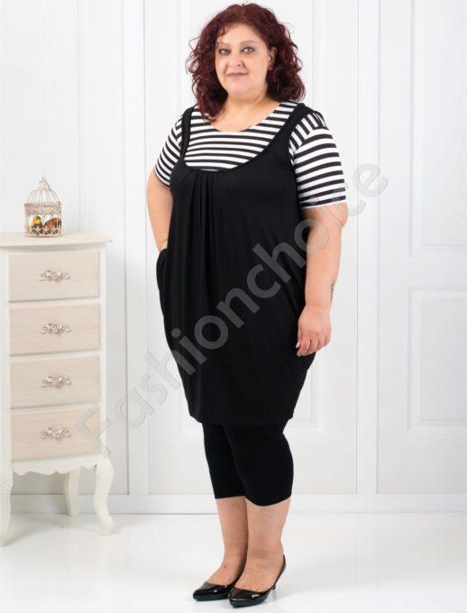 Макси туника тип балон в черно-бяло райе-код 2043-3