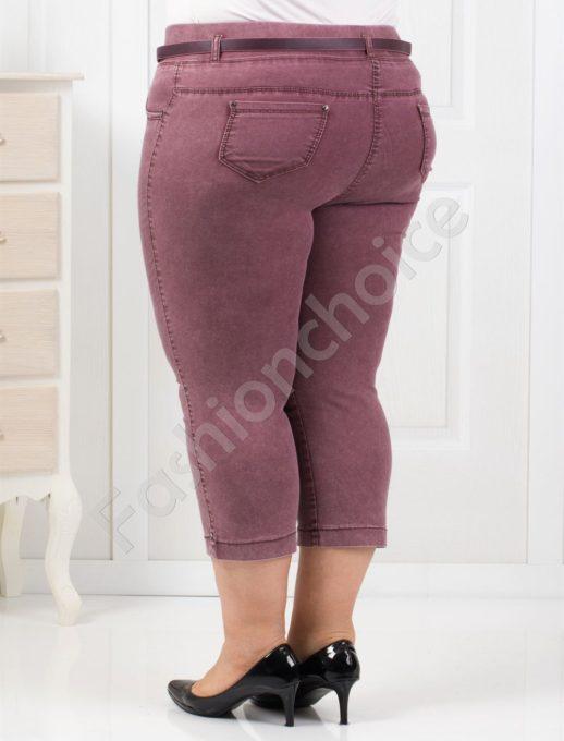 Елегантни тънки 7/8 дънки в цвят бордо/50-58/-код 842