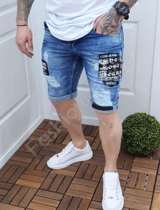 Модерни мъжки дънкови панталонки с кръпки-код 147-1