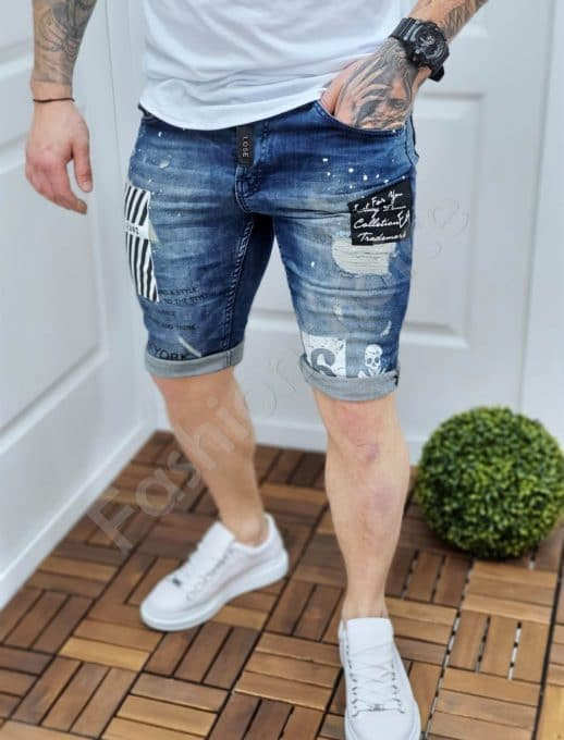 Мъжки накъсани дънкови панталонки NEW YORK-код 124-3