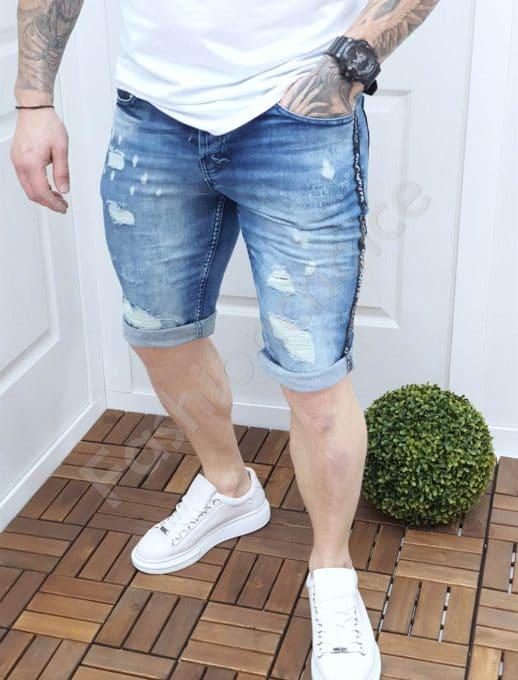 Мъжки дънкови панталонки с кант-код 140