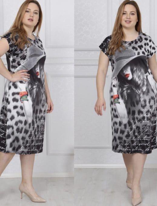 Дамска макси рокля в чудесен принт/2XL,3XL,4XL/-код 741-12