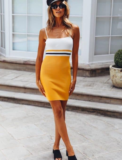 Дамска рокличка с тънка презрамка в жълто-код 107-1