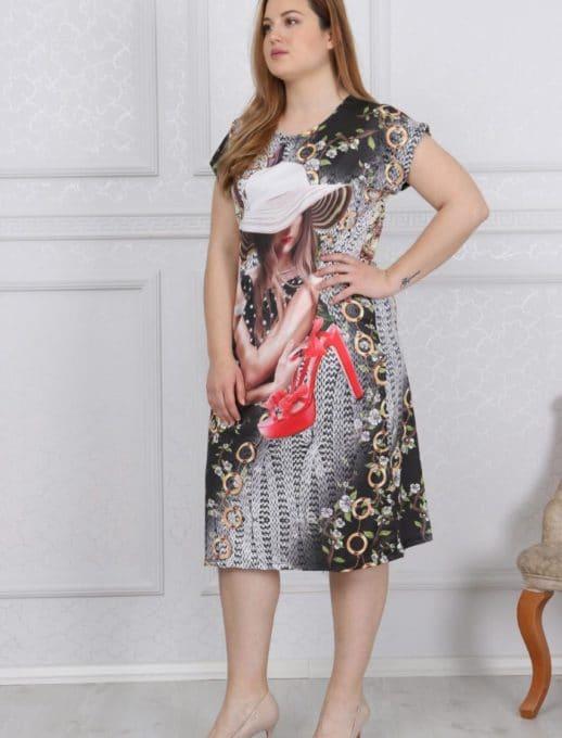 Свежа и цветна дамска макси рокля /2XL,3XL,4XL/-код 741-11