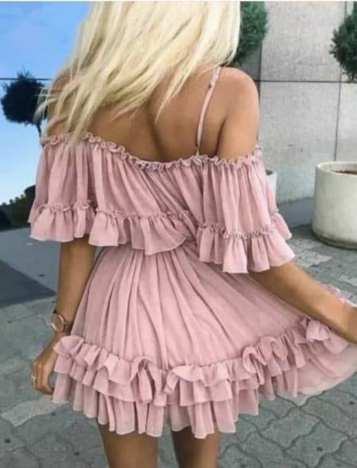 Къса рокля с волани и презрамки в цвят пудра Код 814-304-2