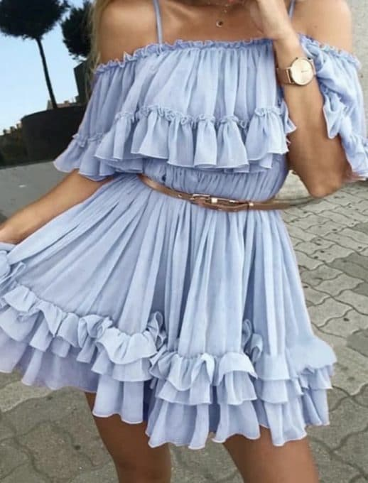 Къса рокля с волани и презрамки син цвят Код 814-304