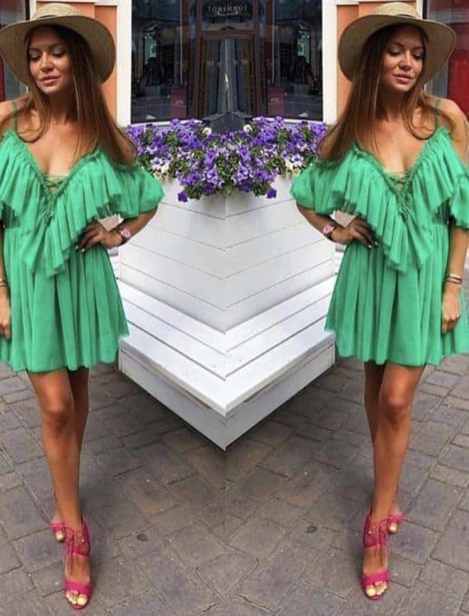 Къса рокля с волани в зелен цвят Код 813-3229