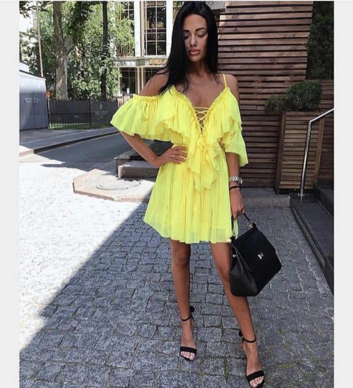 Къса рокля с волани в жълт цвят Код 813-3229-2