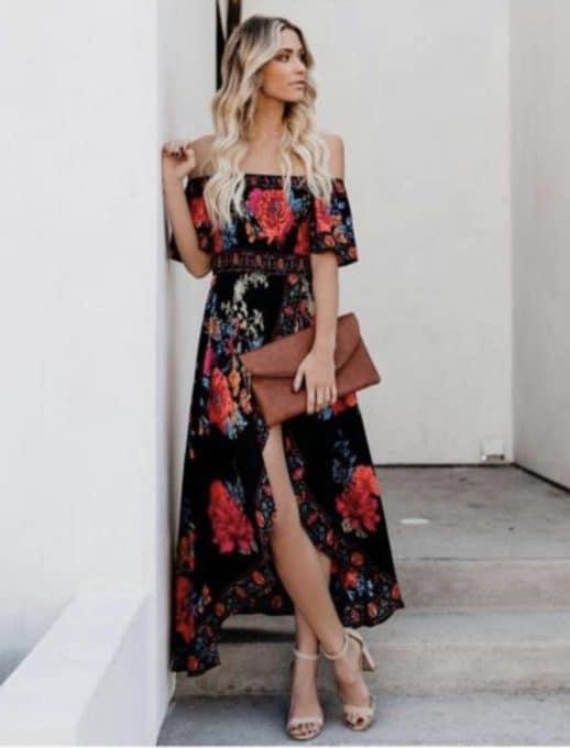 Дълга рокля в черно на цветя Код 831-183