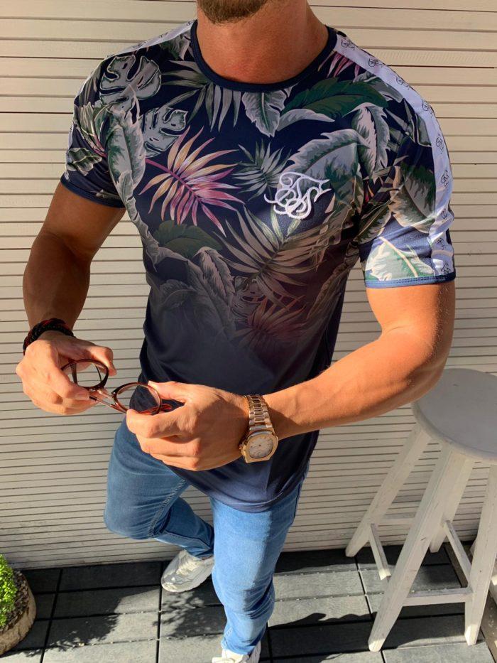 Цветна мъжка тениска с обло деколте-код 853-3