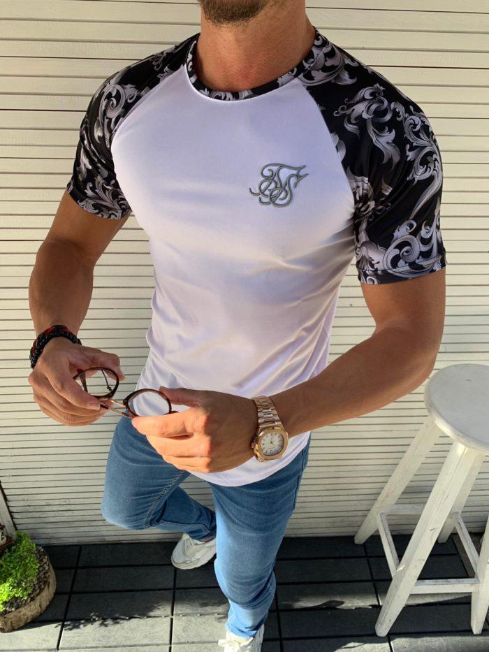 Мъжка тениска в бяло с цветен ръкав в черно-код 853