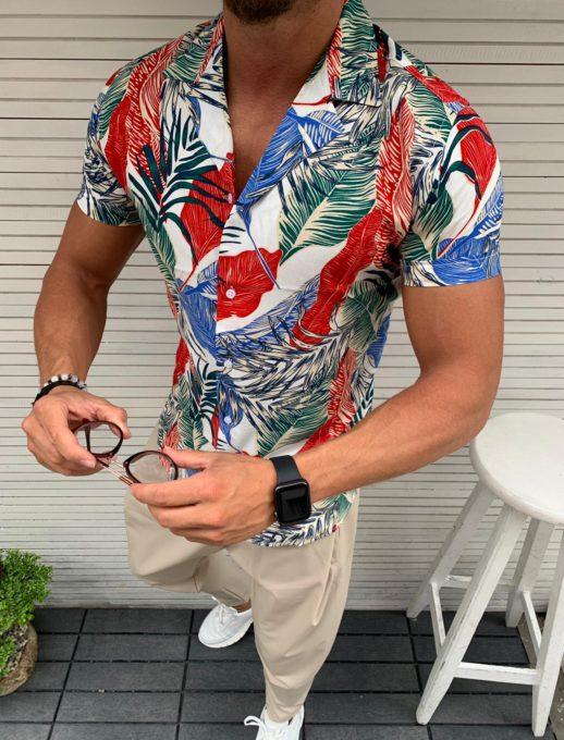 Мъжка риза в свеж цветен десен