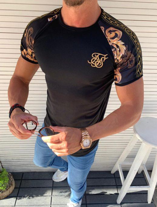 Мъжка тениска в черно с цветен ръкав-код 853-2