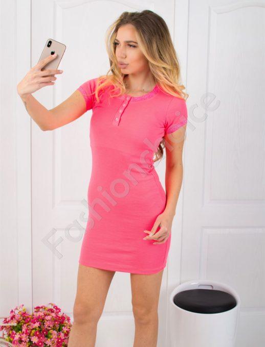 Рипс рокля с дантела в неоново розово Код 793-15