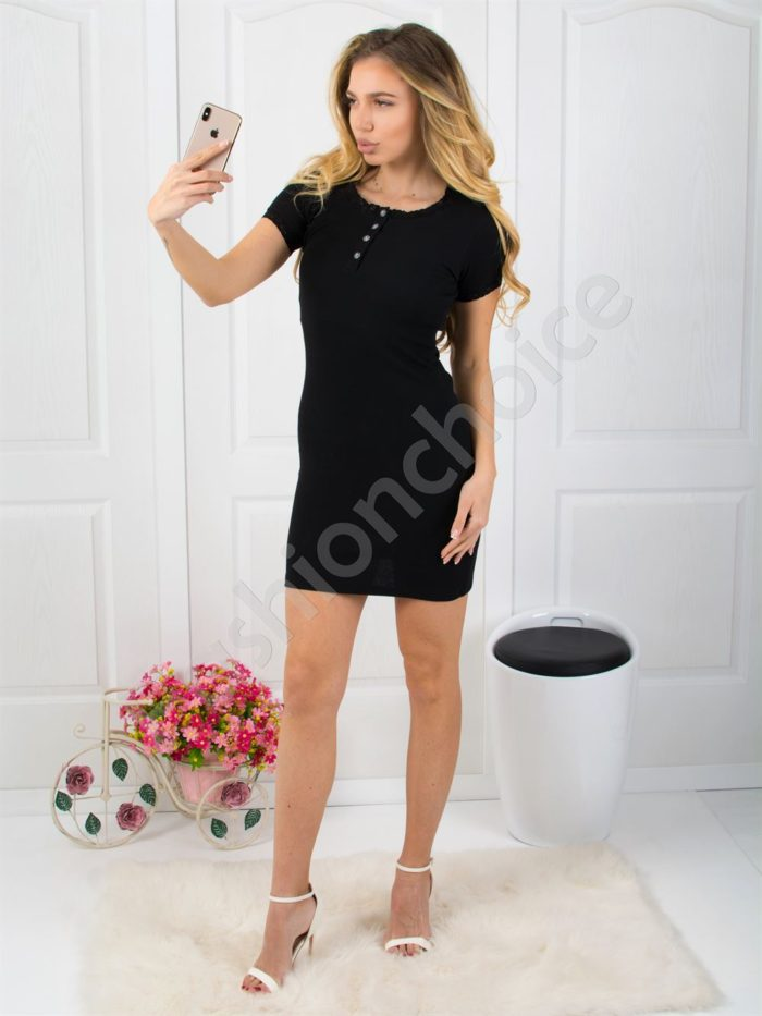 Рипс рокля с дантела в черно Код 793-12