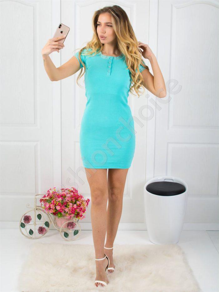 Рипс рокля с дантела в цвят мента Код 793-14