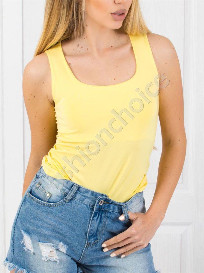 Изчистен модел дамски топ в жълто