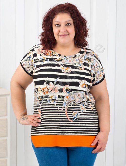 Свежа макси блузка на райе с абстрактни орнаменти-код 711-7