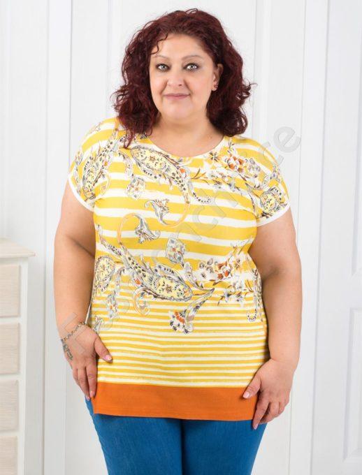 Свежа макси блузка на райе с абстрактни орнаменти-код 711-12
