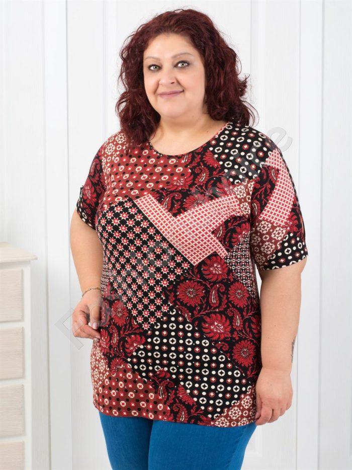 Макси блузка с интересни асиметрични фигури-код 711-11