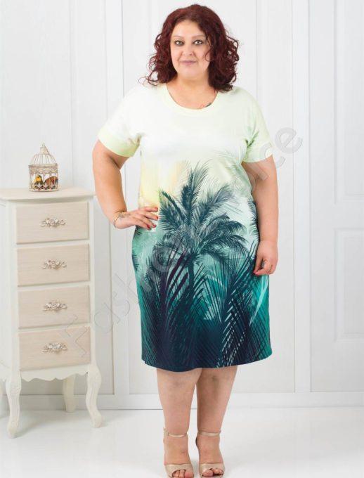 Екзотична рокля с красив десен на палми/3XL,4XL/-код 1107-1