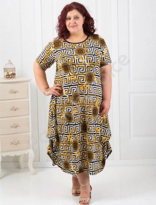 Красива дълга макси рокля в десен с мотиви тип Версаче-824-2