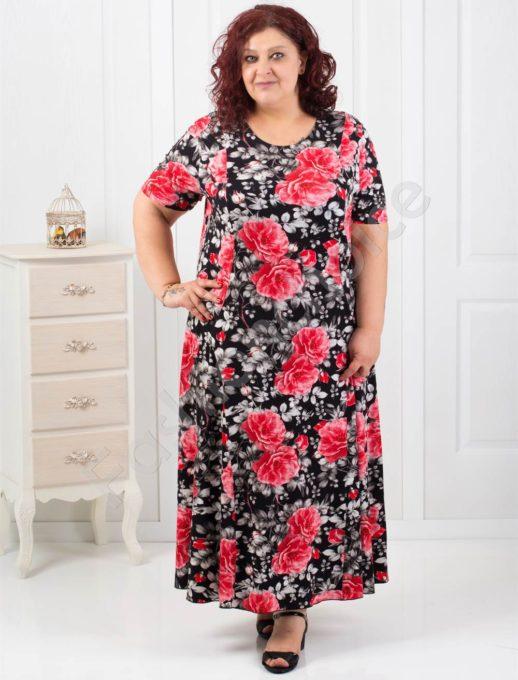 Елегантна макси рокля в десен на красиви червени рози-код 070-6