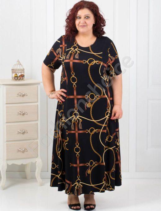 Елегантна макси рокля с луксозен принт-код 070-7