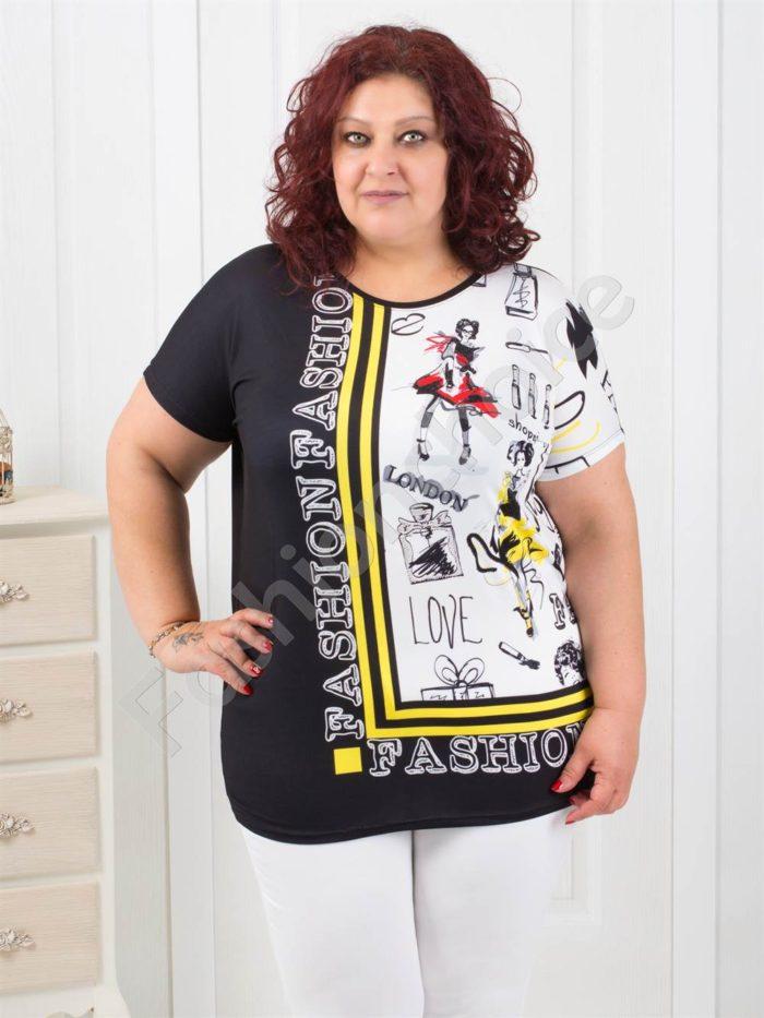 Модерна макси блузка с интересен десен- код 749-3