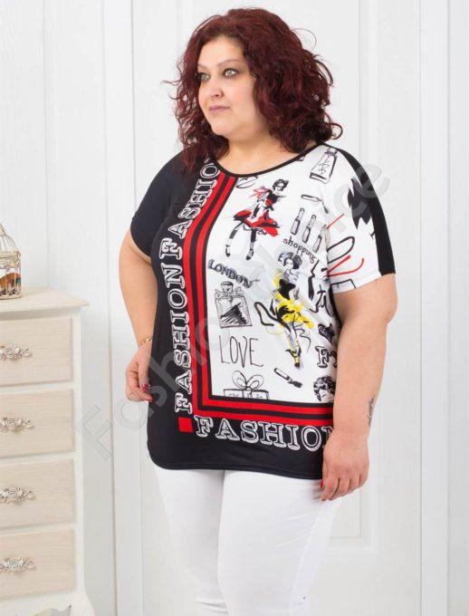 Модерна макси блузка с интересен десен- код 749-4
