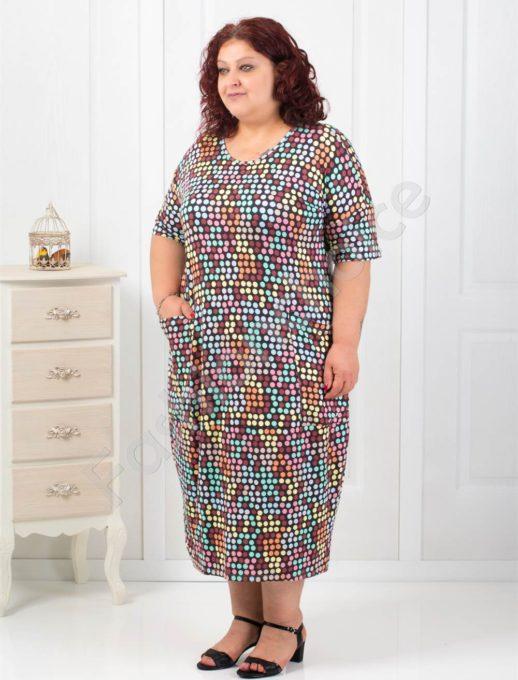 Комфортна макси рокля с пъстроцветен десен