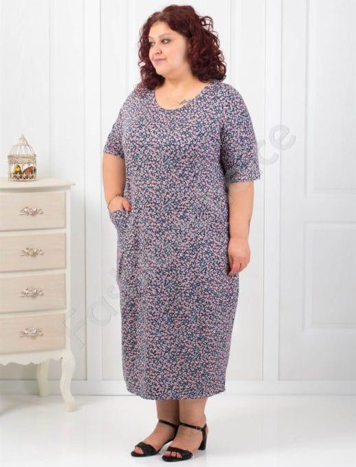 Комфортна макси рокля с десен на цветенца-код 548-1