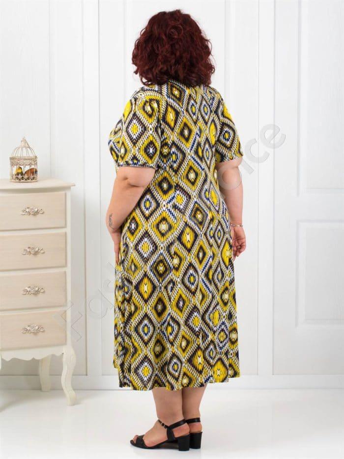 Разкроена макси рокля в десен на фигури в жълто/5XL-6XL/-код 6085-5