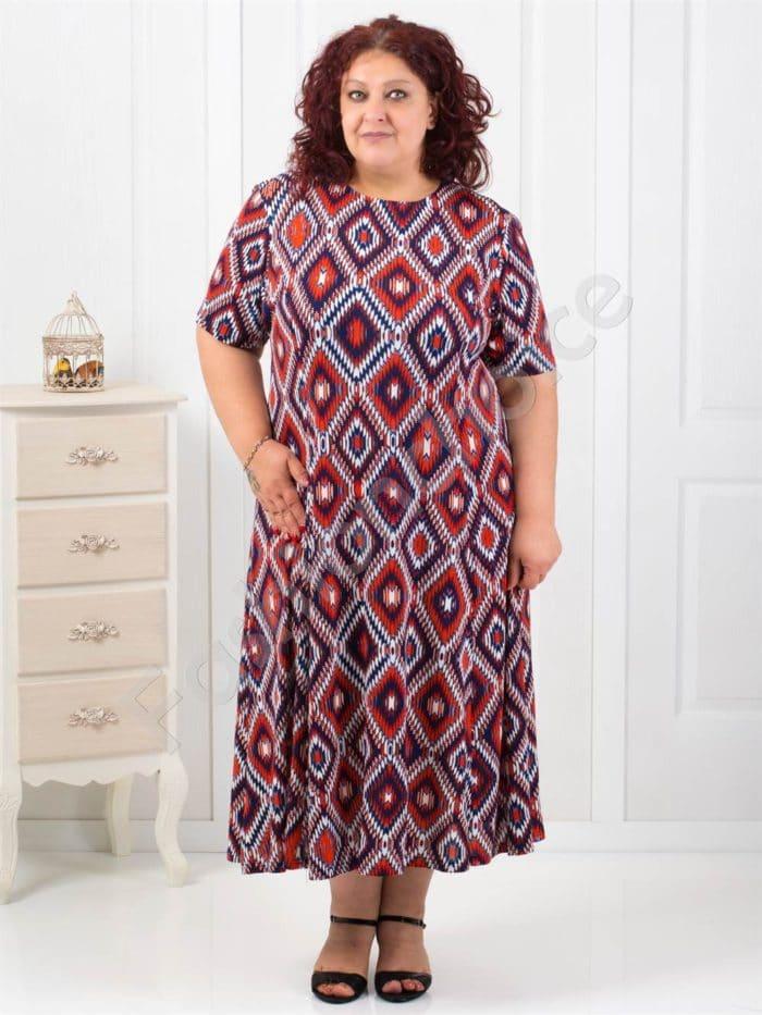 Разкроена макси рокля на абстрактни фигури/5XL-6XL/код 6085-6