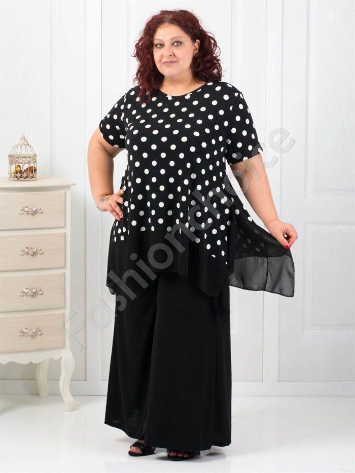 Стилен макси сет от две части с пола-панталон в черно-код 545