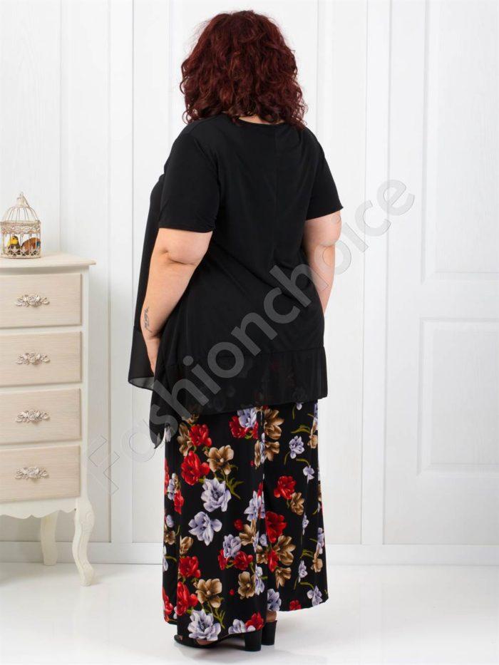 Стилен макси сет от две части с пола-панталон на цветя-код 545-5