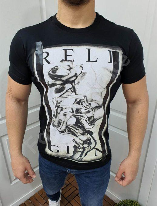 Мъжка тениска с надпис RELIGION в черно-код 852-2