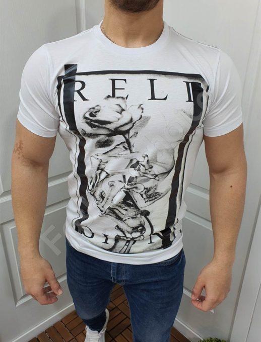 Мъжка тениска с надпис RELIGION в бяло-код 852-3