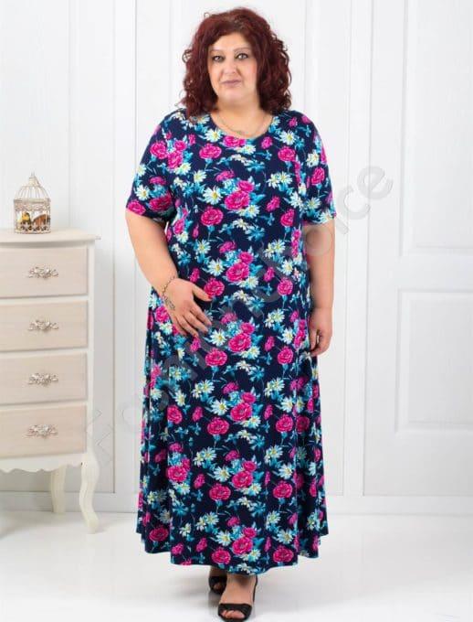 Прекрасна разкроена макси рокля в свеж цветен десен-код 084-1