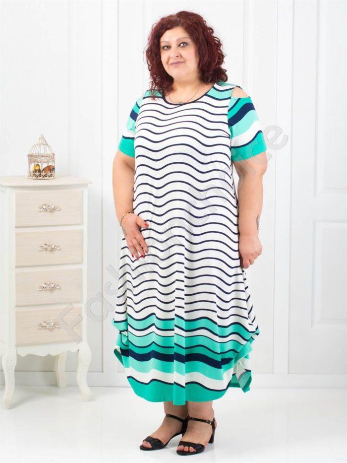 Дълга макси рокля в красив летен цвят мента-код 824-2