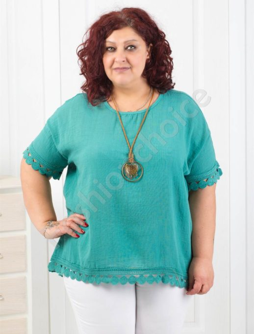 Стилна блузка с брюкселска дантела+подарък нежно бижу-код 552