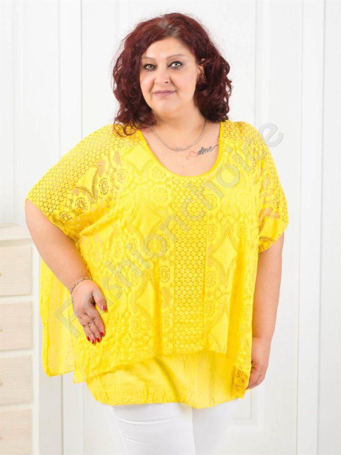 Красива дантелена макси блуза тип пончо