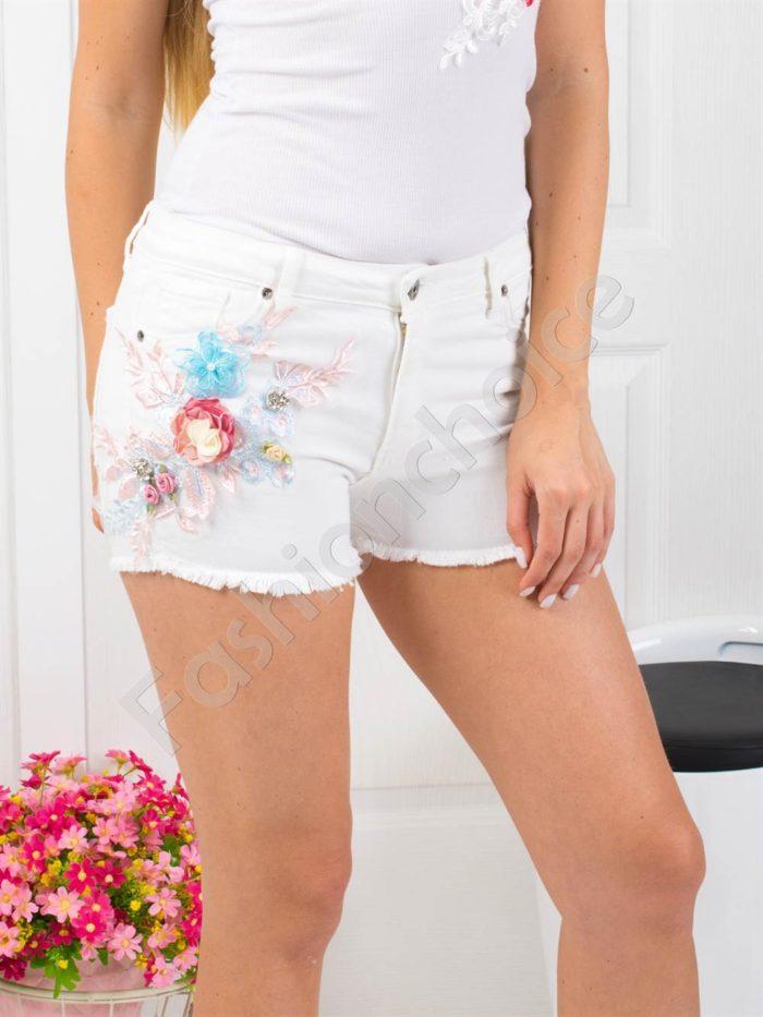Бели дънкови панталонки с апликация-Код 850-994
