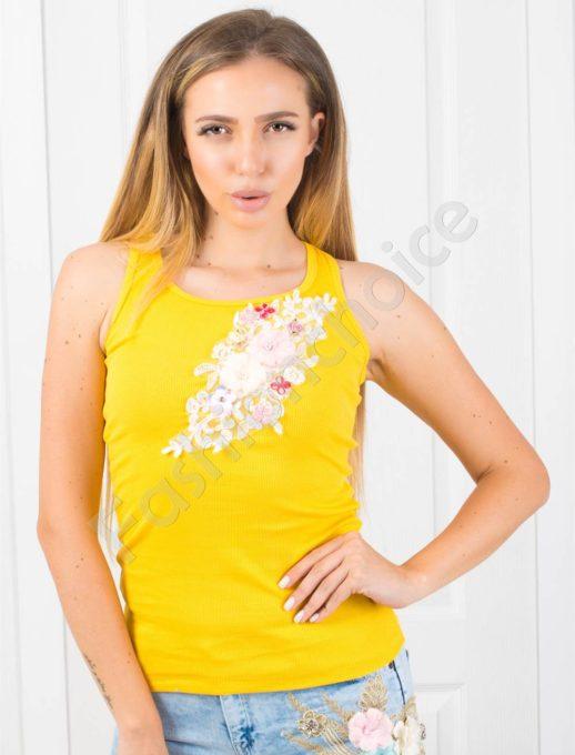 Топ в жълто с цветна апликация-код 848-2