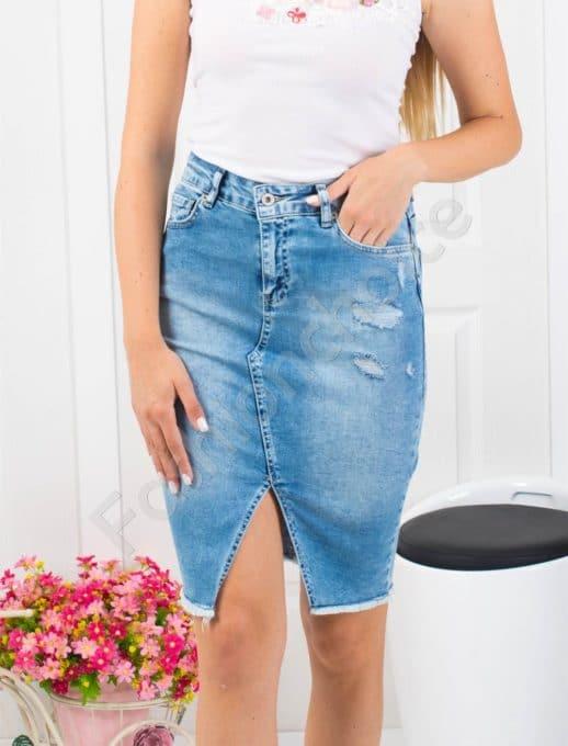 Миди дънкова пола с изтъркан ефект-Код 850- 61