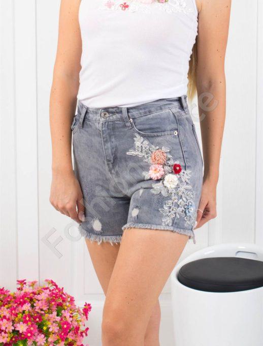 Сиви дънкови панталонки с апликация-Код 850-9999