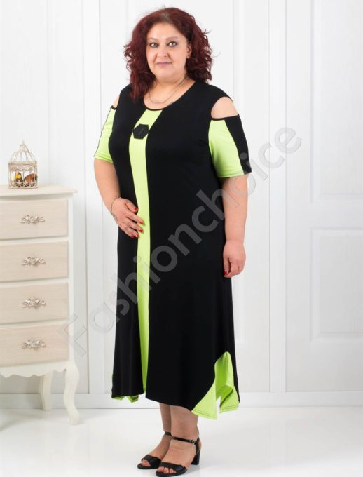 Стилна черна рокля в комбинация със свежо зелено-код 1112
