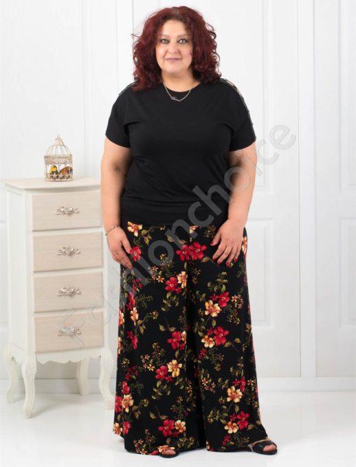 Дамска макси пола-панталон в красив цветен десен-код 539-1