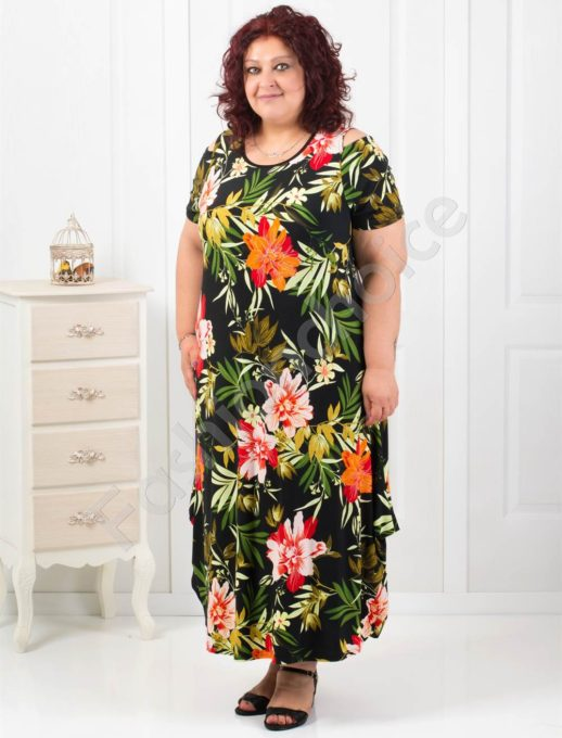 Дълга макси рокля в красив флорален десен-код 824-4