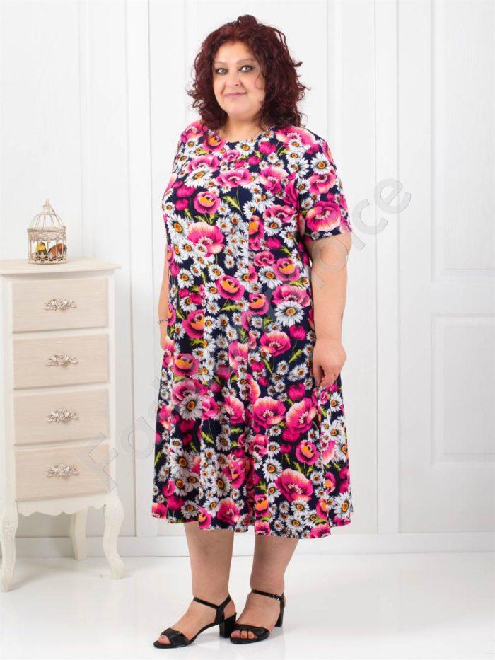 Разкроена дамска рокля на прекрасни цветя/5XL-6XL/код 085-2